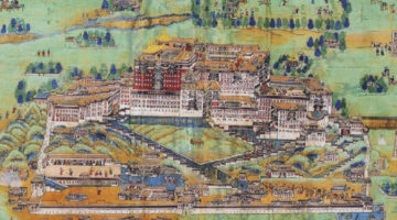 Tibetan Pilgrimage Through a Lhasa Cityscape